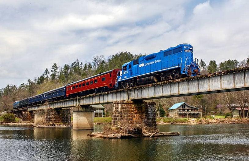 Tennessee Valley Railroad Diesel Train on Bridge