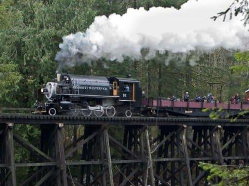 Chelatchie Prairie Railroad on Trestle