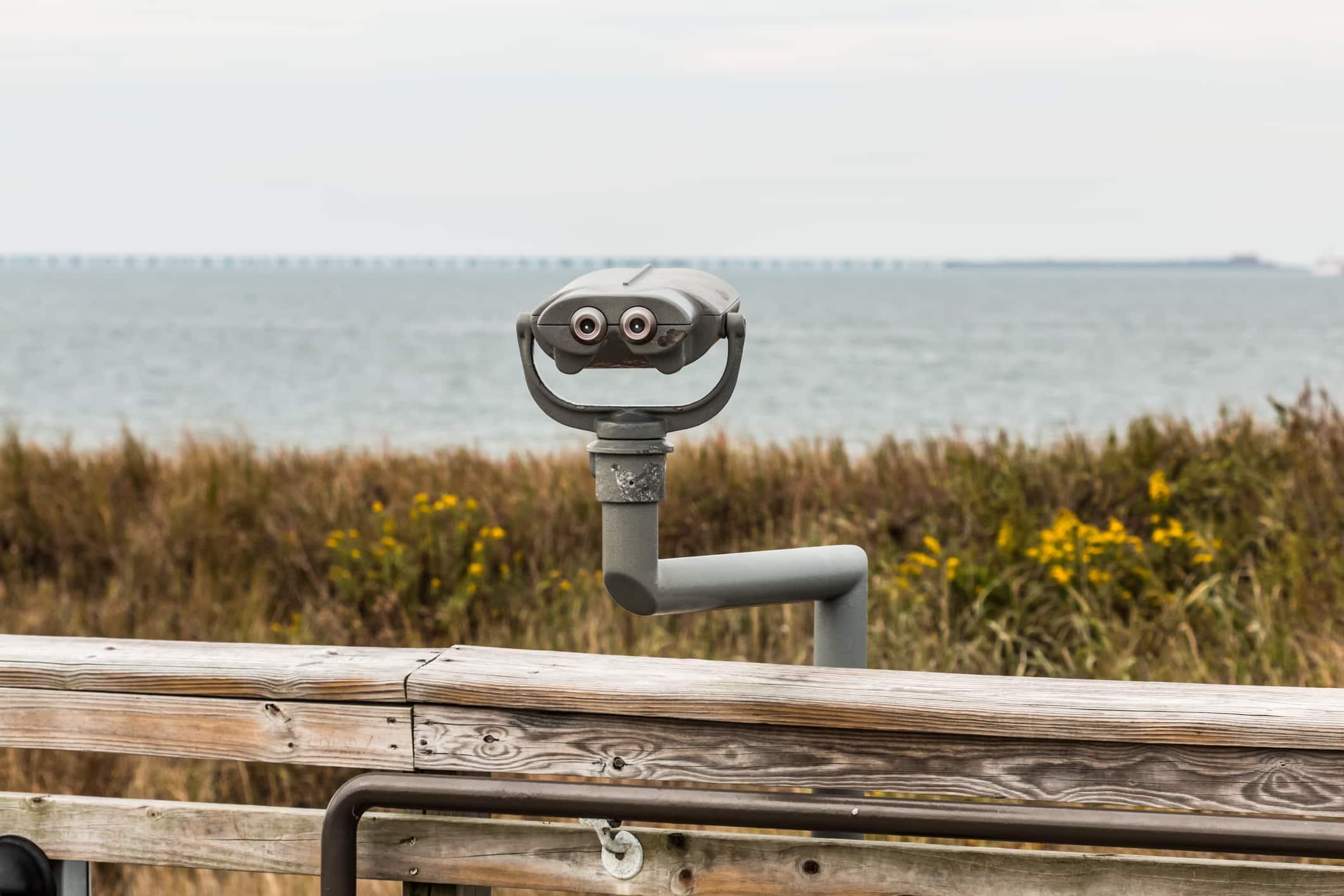 Sightseeing binoculars at First Landing State Park beach in Virginia Beach, Virginia