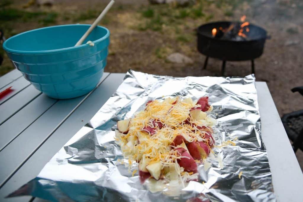 cheesy tinfoil potatoes
