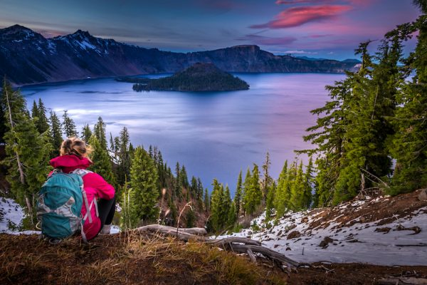 Camper Looking out over Crater Lake, Oregon