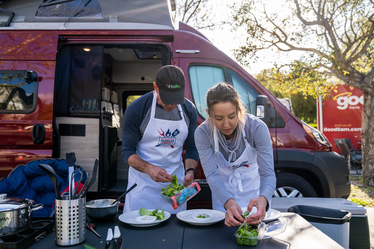 Stef and James of the FitRV prepare food for The Great American Cookoff.