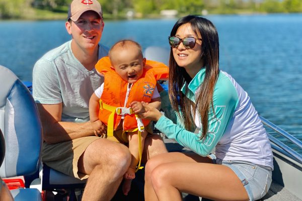 Mom, dad and son on a fishing trip