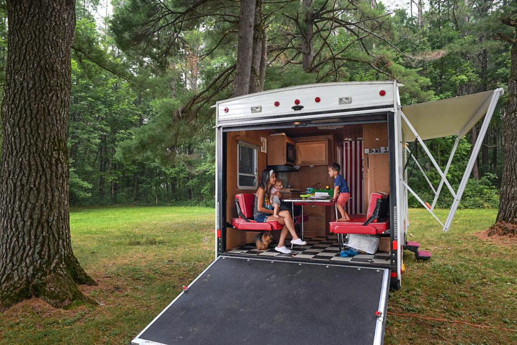 Riverside Retro RV 820R toy hauler door open