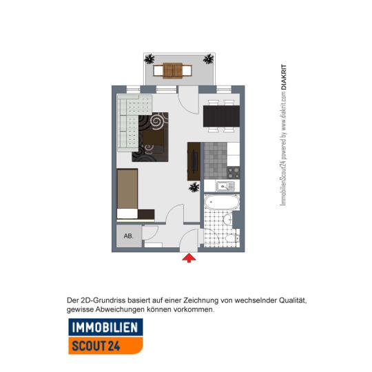 2D-Grundriss - 1-Zimmer-Wohnung mit sonnigem Westbalkon