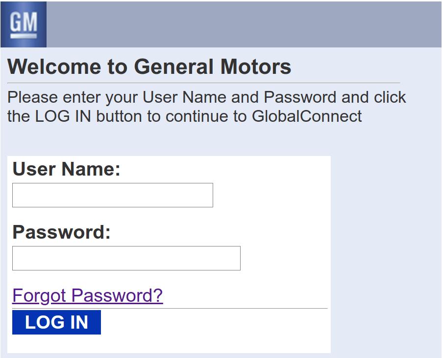 www GMGlobalConnect com - General Motors Autopartners Online Login