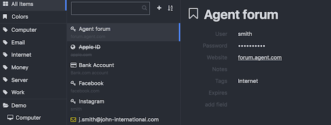 KeeWeb With Demo Data