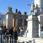 Students Interpreting the Jefferson Davis Monument in Richmond