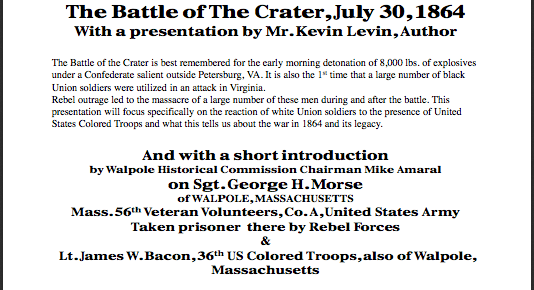 Lecture on the Crater Tomorrow Night in Walpole