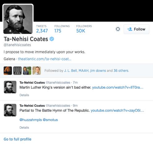 Ulysses S. Grant, Ta-Nehisi Coates