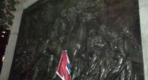 Shaw Memorial, Confederate Flag