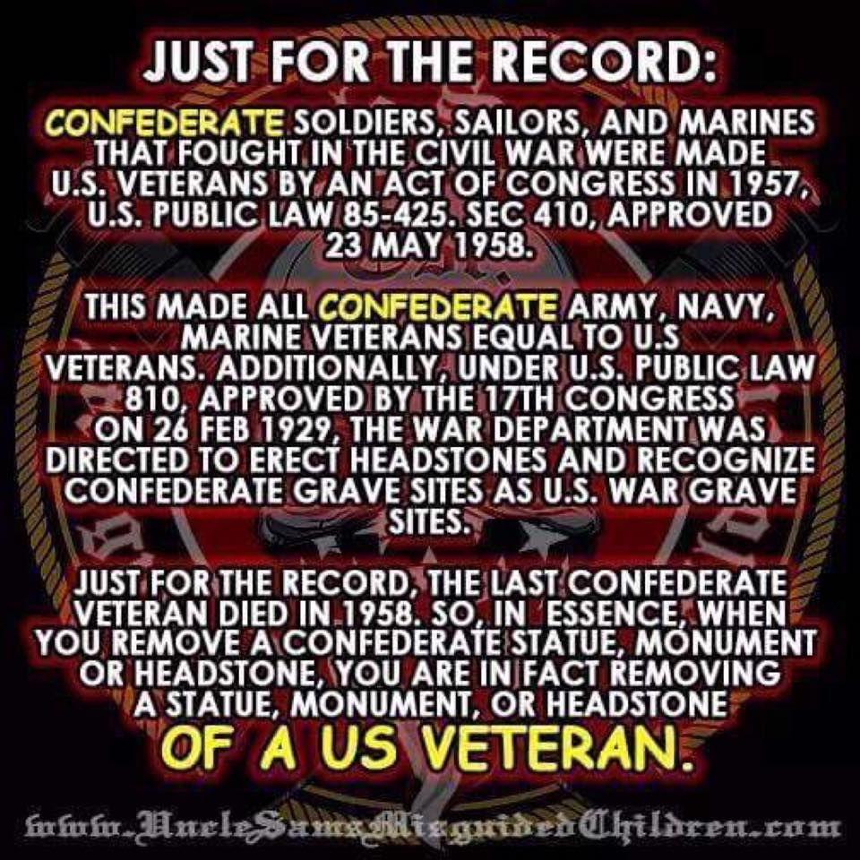 Confederate Veterans are Not U S  Veterans