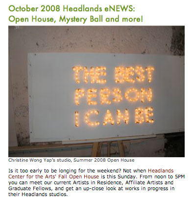 A relic in my studio from The Best Person I Can Be in the recent Headlands' eNews. Will you look at that!