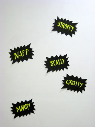Mancunian Slang Adjective Flash Drawings: Stroppy, Naff, Scally, Grotty, Mardy Ink on six ready-made fluorescent yellow die-cut papers 12 x 7.5 inches each; 37 x 50 inches assembled. Produced during the Breathe Residency at Chinese Arts Centre