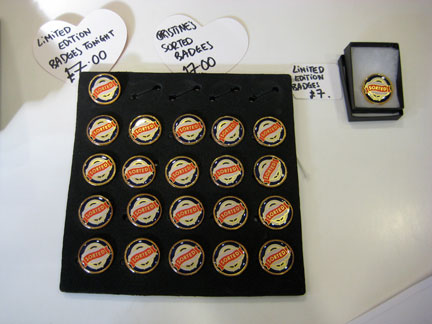 """My """"Sorted"""" badges for sale at the CAC front desk, with a special reception offer; Regular price: £10/$15."""