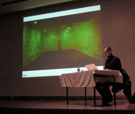 Ed Pien presents a slide lecture at the Whitworth Art Gallery, Manchester.