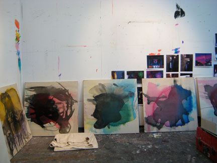 Underpainting / works in progress by Mediha Ting in her studio near Bow Road, London. She's got a show opening in Manchester this weekend, and one in Shanghai later this summer.