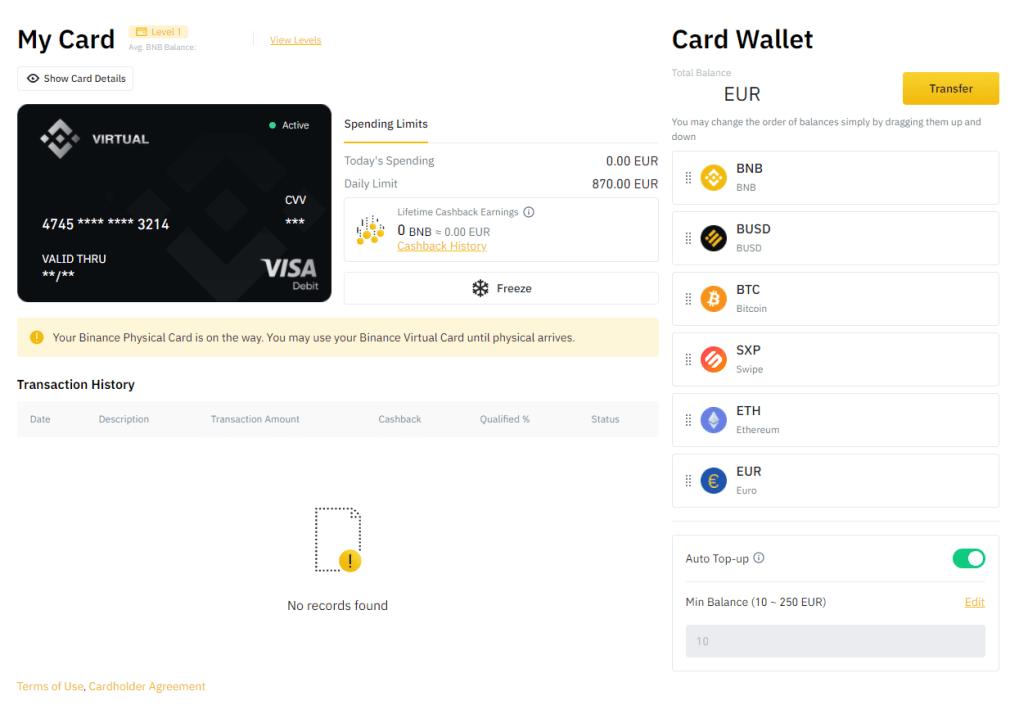 Binance Card wallet