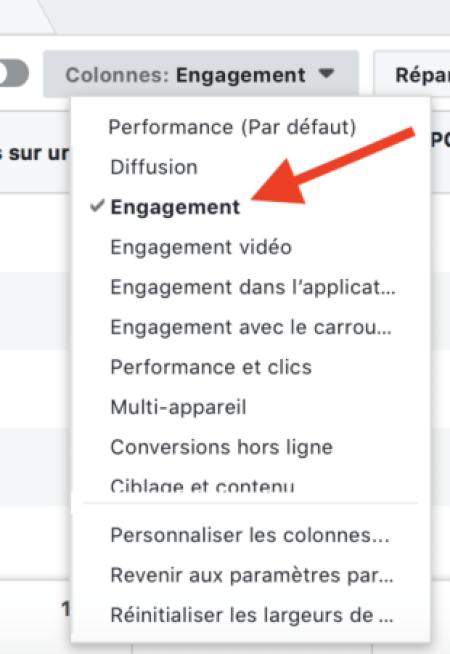 Facebook targeting: engagement column
