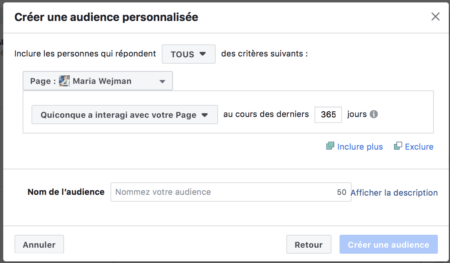 Facebook targeting: personalized audience