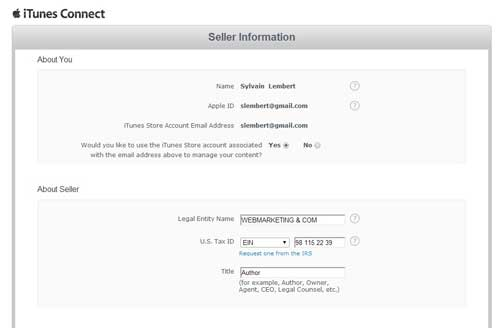 itunes connect seller information