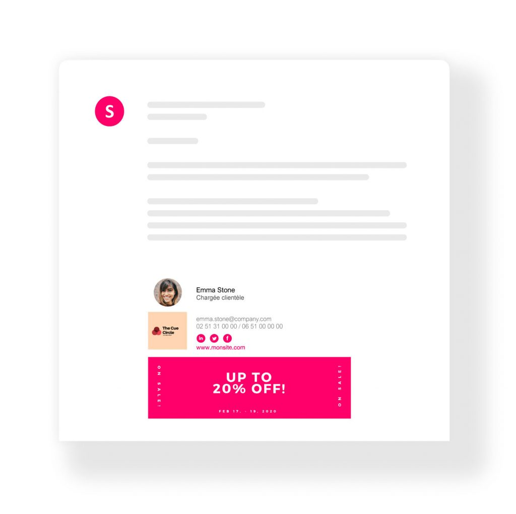 Promotional email signature