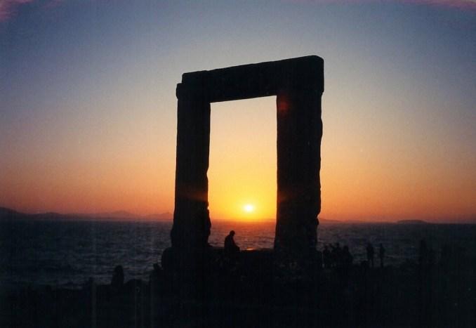 Naxos : la Portaria au coucher de soleil