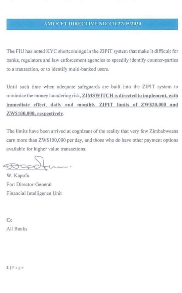 RBZ Imposes New Limits On ZIPIT