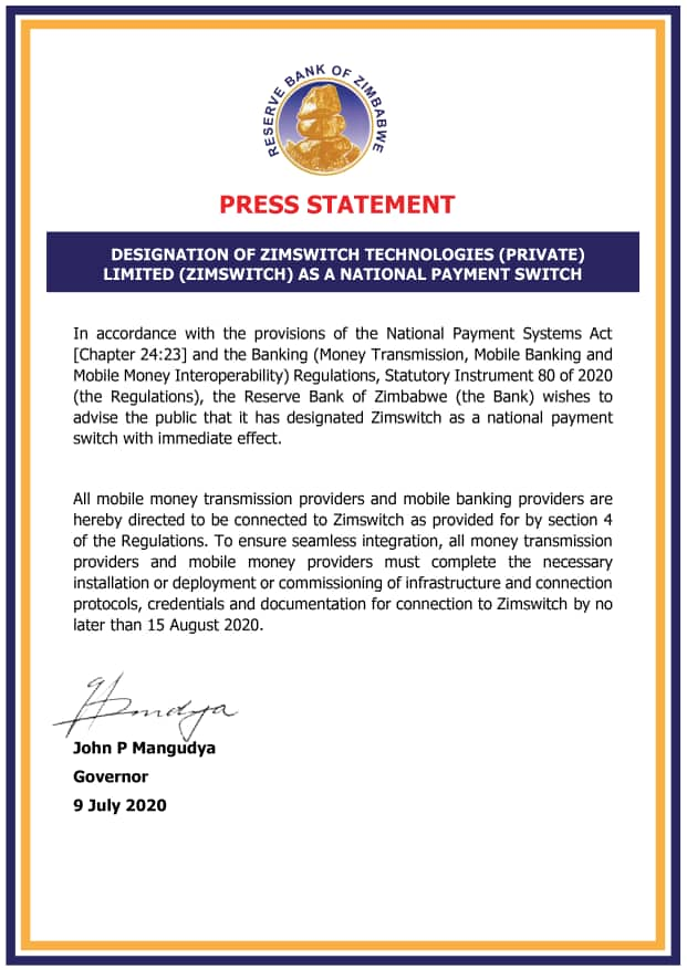 RBZ Designates ZimSwitch As National Payment Switch