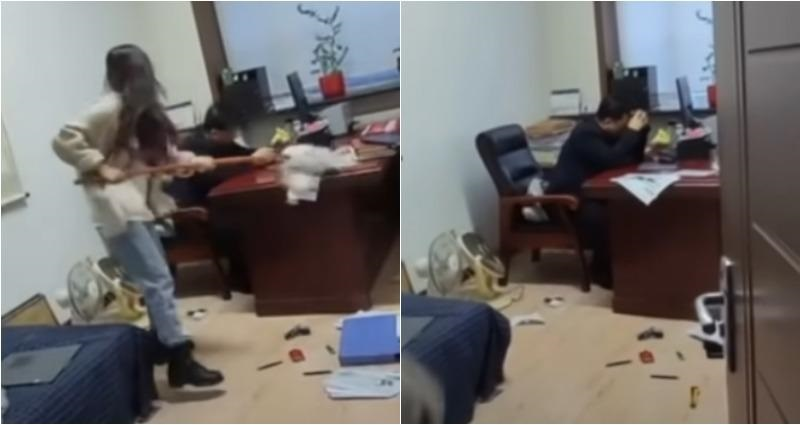 Drama As Woman Flogs Her Boss With Mop For Sending Her Inappropriate Sexual Texts