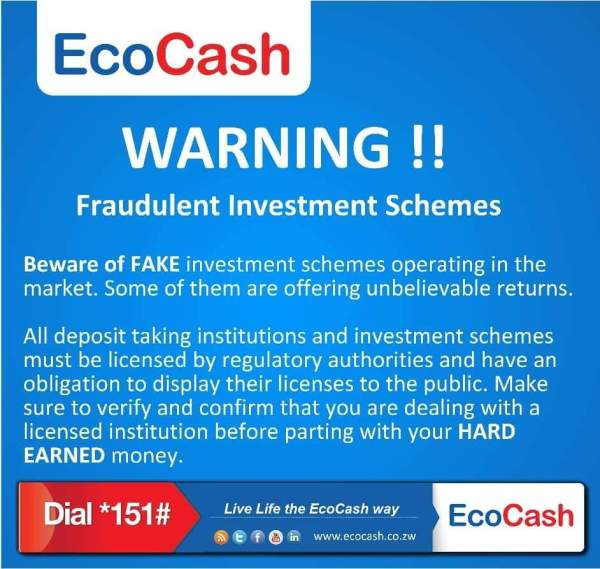 EcoCash Issues Strong Warning As Ponzi Schemes Resurface