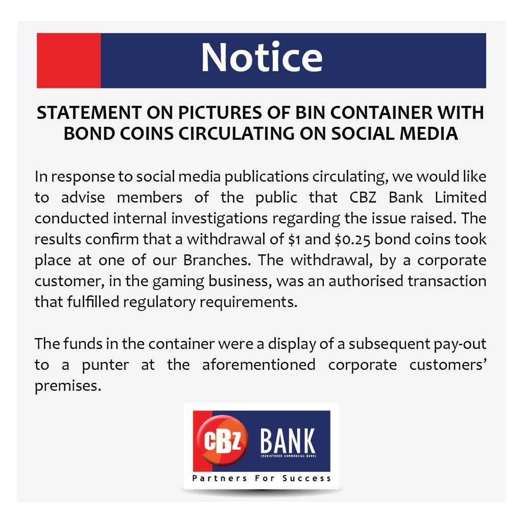 CBZ Statement on bank withdrawal