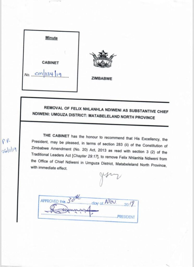Chief Ndiweni removed from Chieftainship