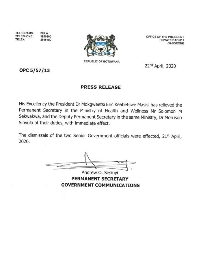 Botswana President Fires Senior Government Officials