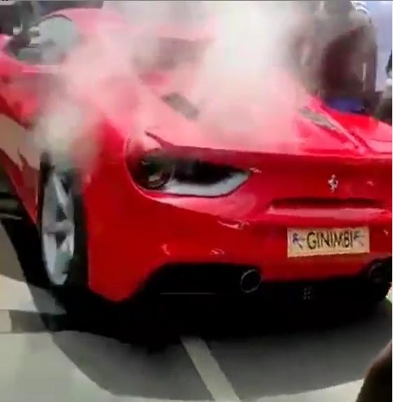 Ginimbi's Ferrari on fire