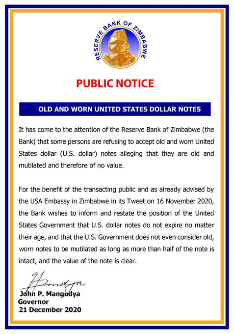 RBZ Issues A Stern Warning Against Businesses That Refuse Torn US Dollar Notes