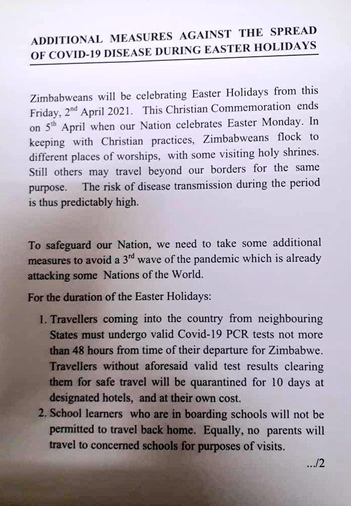 President Mnangagwa's Government Announces Additional Measures To Deal With Covid-19 During Easter