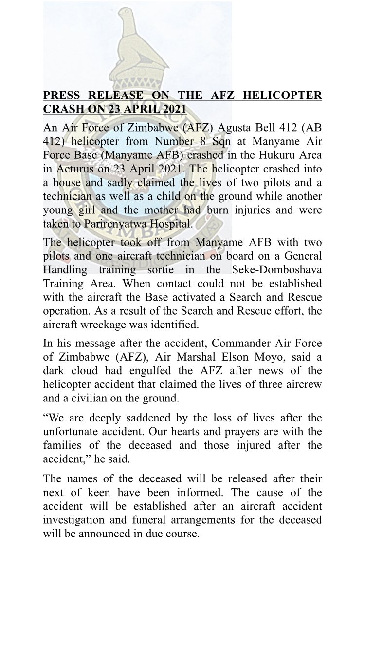 Air Force Of Zimbabwe Reveals Helicopter Crash In Arcturus Killed 4
