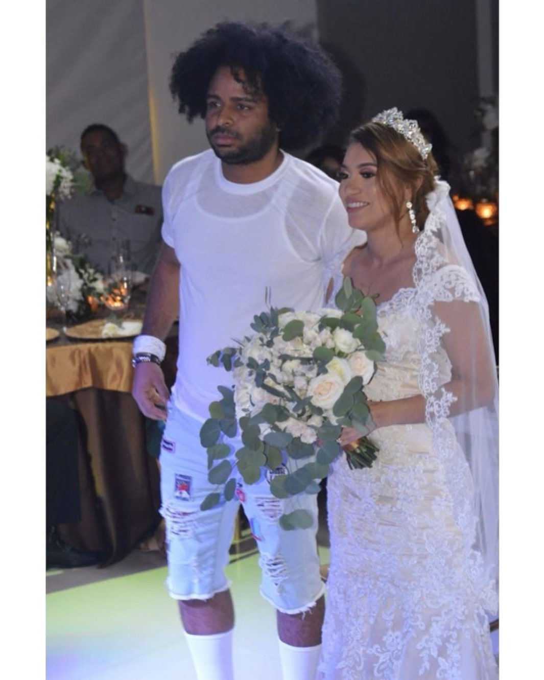 Dominican Singer Gets Social Media Talking After He Weds Whilst Wearing A T-shirt And Ripped Jeans Shorts-iHarare