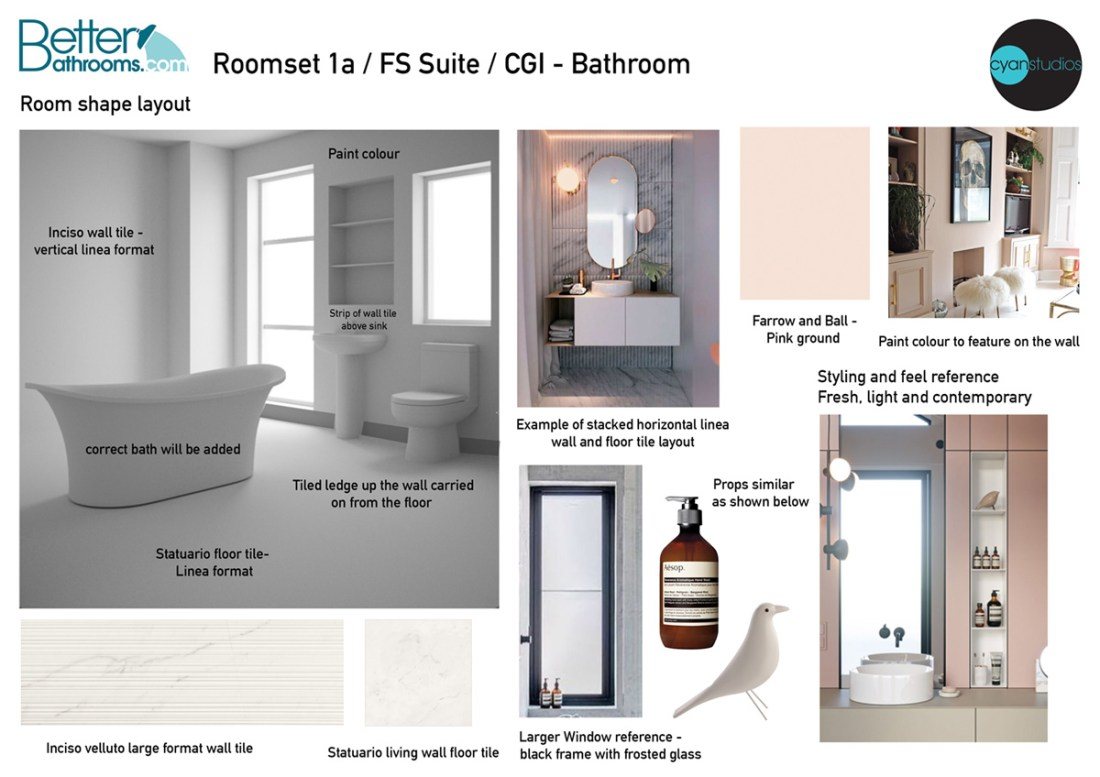 Photo realistic bathroom room sets by Cyan Studos for Better Bathrooms
