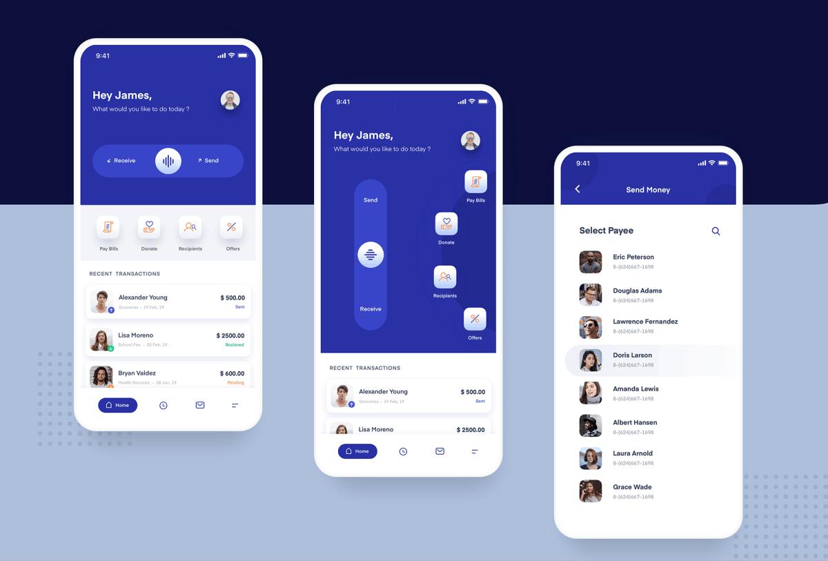 Payment app UI in Flutter