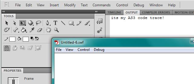 Рис. 3. Отображение результата функции trace() в окне OUTPUT при запуске flash-ки.
