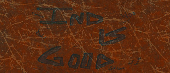 silly industrial music banner - rusted