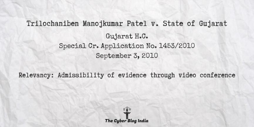Trilochaniben Manojkumar Patel v. State of Gujarat