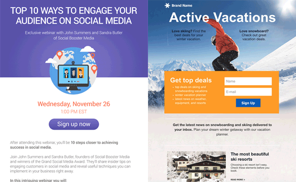 GetResponse Landing Page Examples