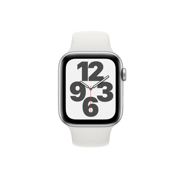 Apple Watch SE 44MM Silver Aluminum GPS White Sport Band 1
