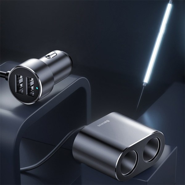 Baseus High Efficiency 2 in 1 Cigarette Lighter with Dual USB Car Charger 5