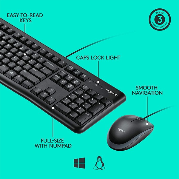 Logitech MK120 USB Keyboard and Mouse Combo price in sri lanka buy online at cyberdeals.lk