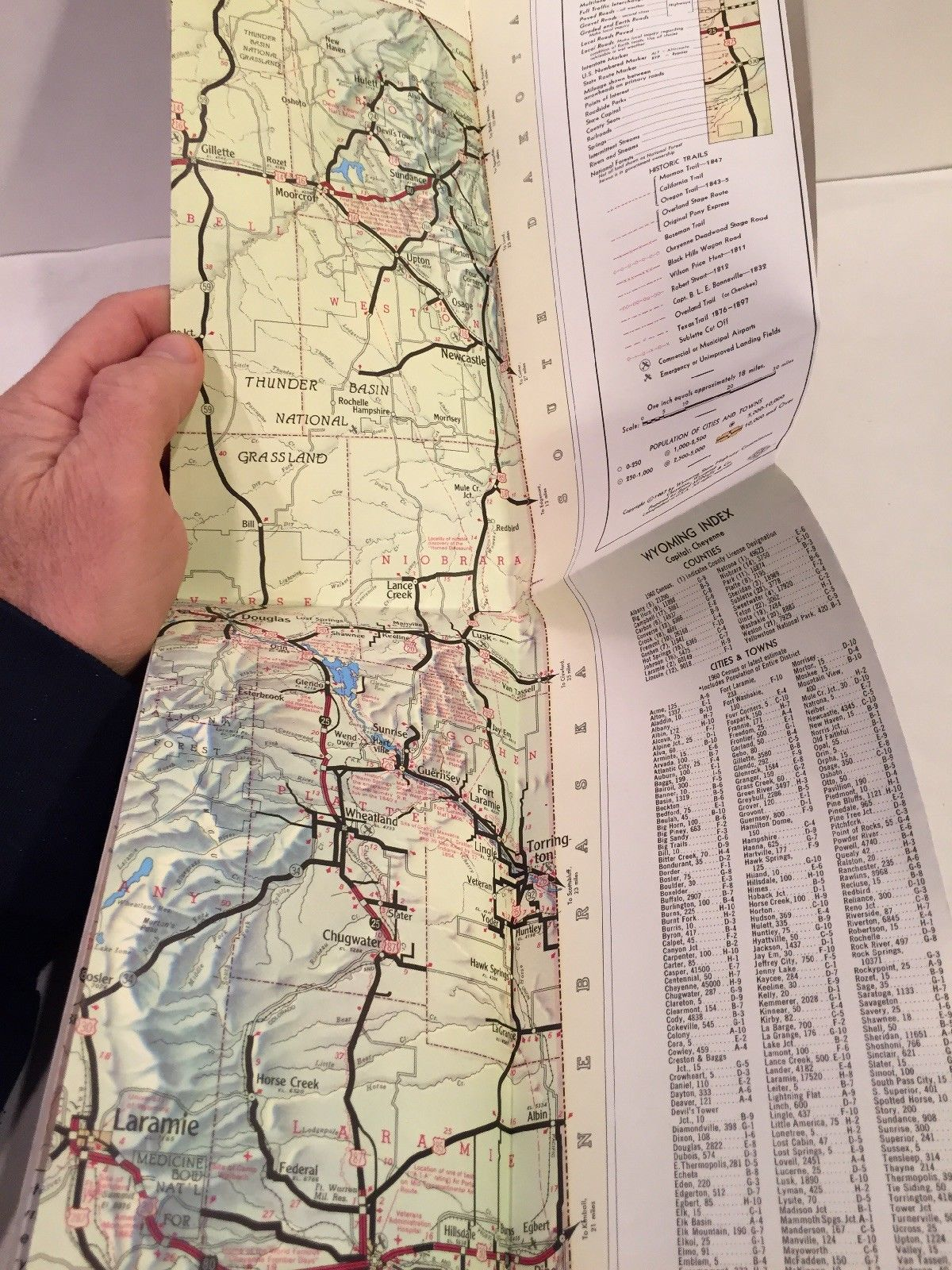 1967 WYOMING STATE HIGHWAY COMMISSION Road Interstate Map Rand McNally Topo