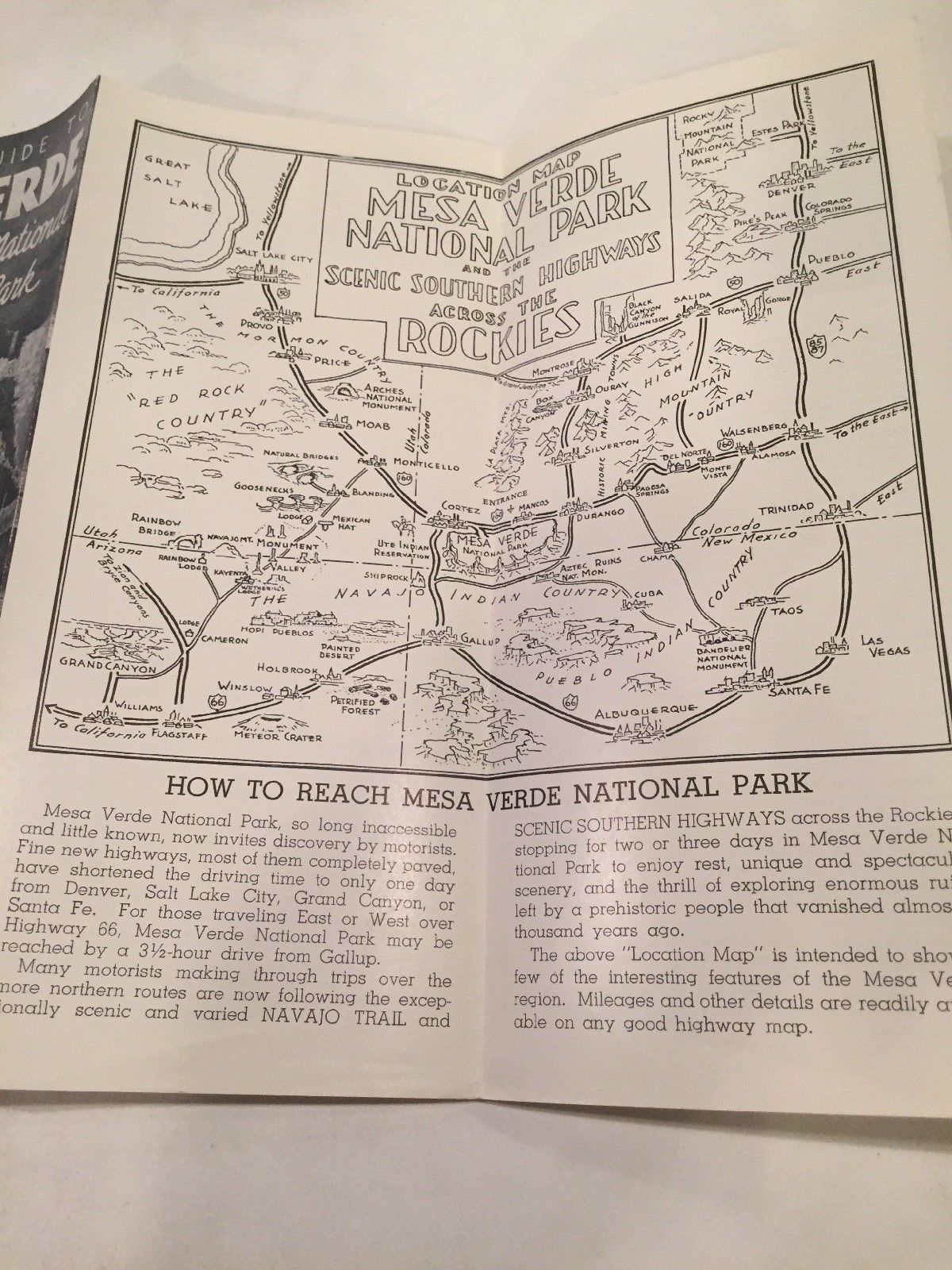 1950s MAP AND GUIDE TO MESA VERDE NATIONAL PARK Scenic Southern Highway  Brochure